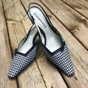 BCBG MaxAzria white black houndstooth heels sz 8.5